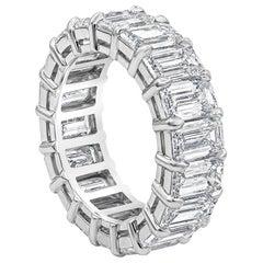 Roman Malakov 9.80 Carat Emerald Cut Diamond Eternity Wedding Band