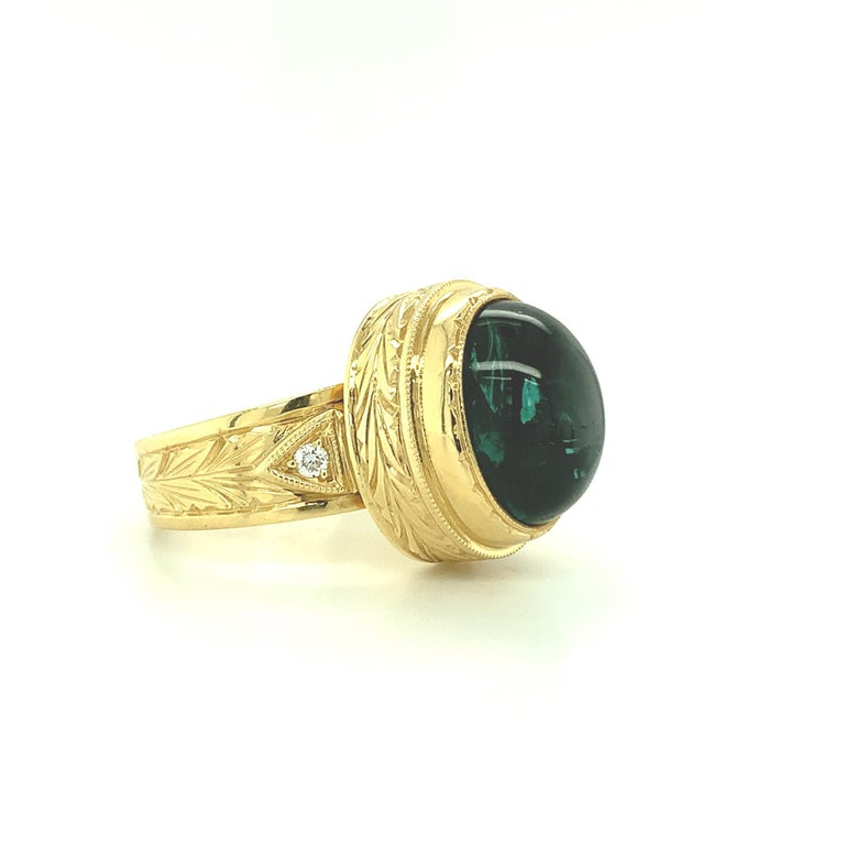 Artisan 9.80 Carat Green Tourmaline Cabochon Diamond Yellow Gold Bezel Band Dome Ring For Sale