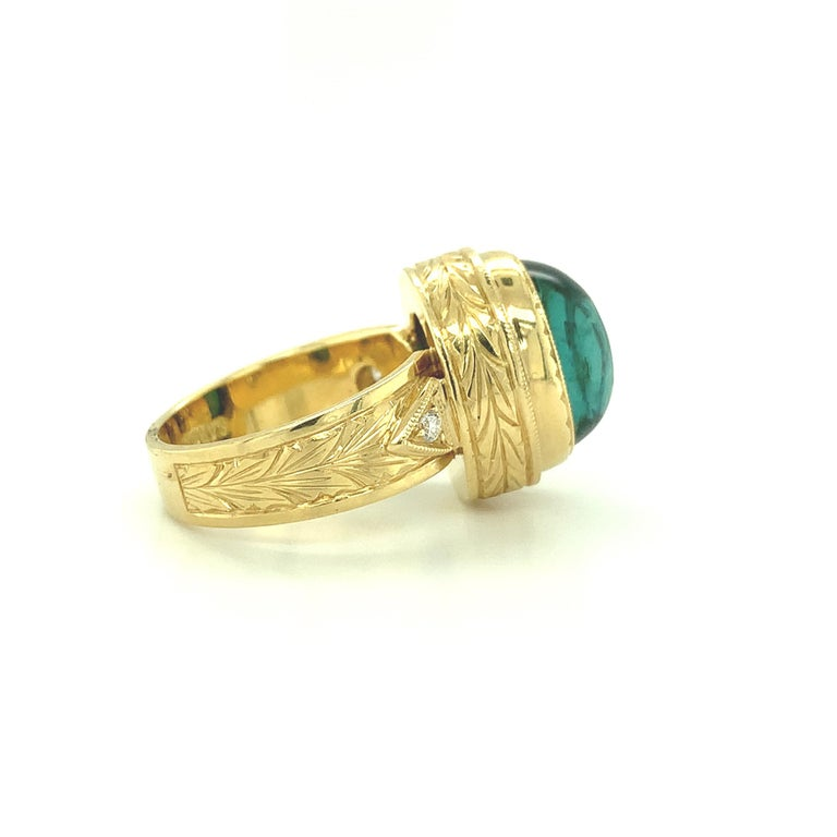 9.80 Carat Green Tourmaline Cabochon Diamond Yellow Gold Bezel Band Dome Ring In New Condition For Sale In Los Angeles, CA