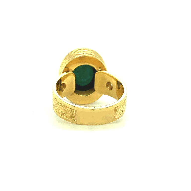 9.80 Carat Green Tourmaline Cabochon Diamond Yellow Gold Bezel Band Dome Ring For Sale 1