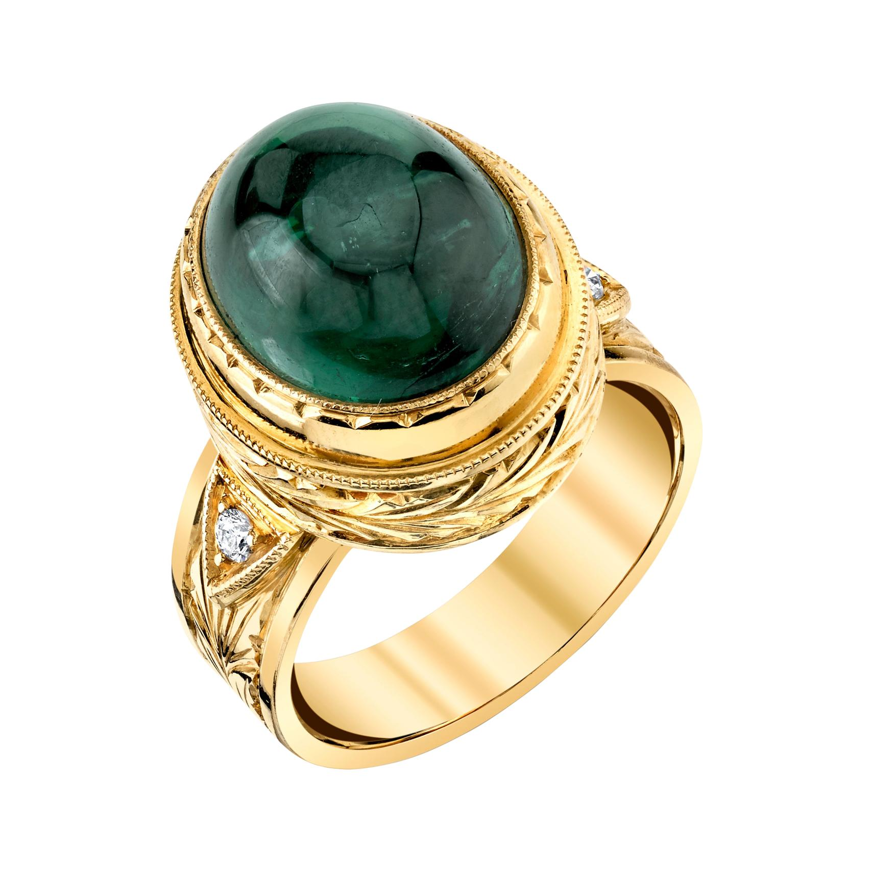 9.80 Carat Green Tourmaline Cabochon Diamond Yellow Gold Bezel Band Dome Ring