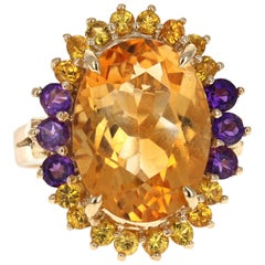 9.80 Carat Oval Cut Citrine Amethyst 14 Karat Yellow Gold Cocktail Ring