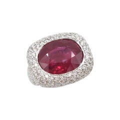 9.80 Carat Oval Shaped Ruby Diamond Pavé White Gold Ring