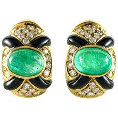 9,8 Smaragd Diamant und Schwarze Onyx 18 Karat Gelb Gold Ohrclips