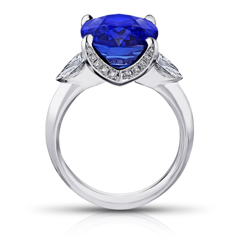 Contemporary 9.81 Carat Cushion Blue Sapphire and Diamond Ring For Sale