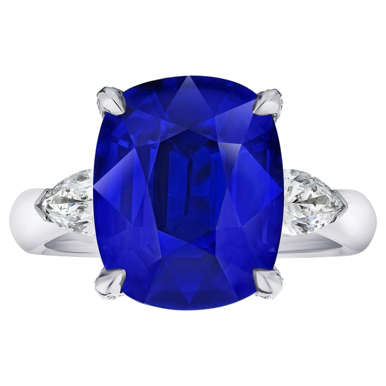 9.81 Carat Cushion Blue Sapphire and Diamond Ring For Sale