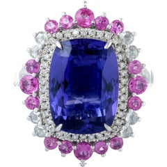 9.81 Carat Tanzanite Diamond Ring 18 Karat White Gold