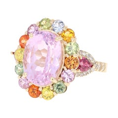 9.83 Carat Kunzite Multi-Sapphire Diamond 14 Karat Yellow Gold Cocktail Ring