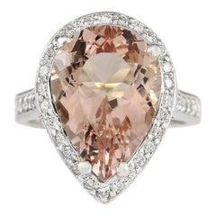 9.83 Carat Natural Morganite 18 Karat White Gold Diamond Ring