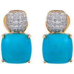 9.83 Carat Turquoise Diamond 18 Karat Yellow Gold Stud Earrings