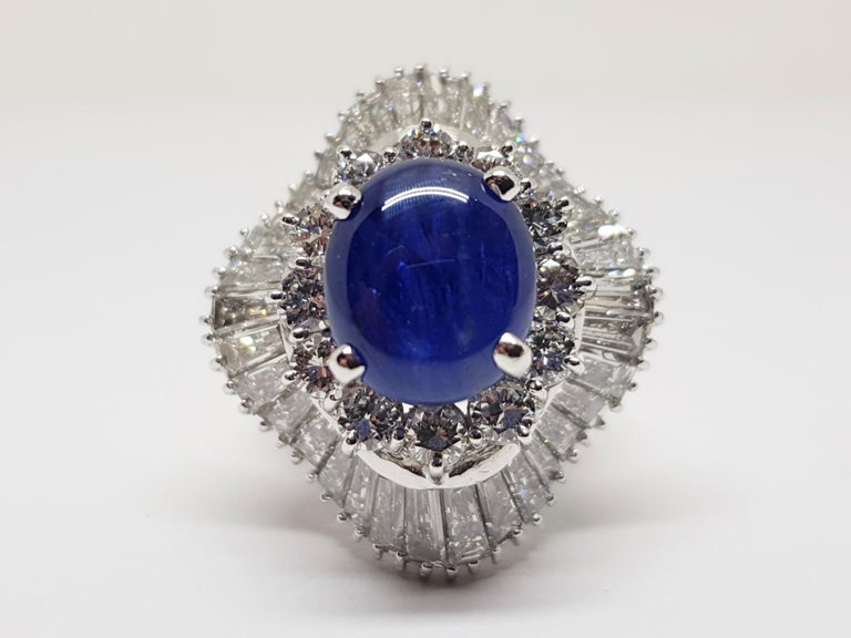 9.83 Carat White Gold Diamond Blue Sapphire Cocktail Ring For Sale 4