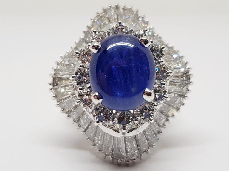 9.83 Carat White Gold Diamond Blue Sapphire Cocktail Ring For Sale 5