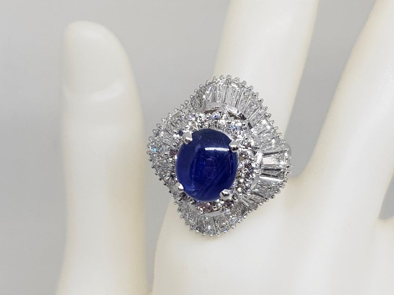 9.83 Carat White Gold Diamond Blue Sapphire Cocktail Ring For Sale 6