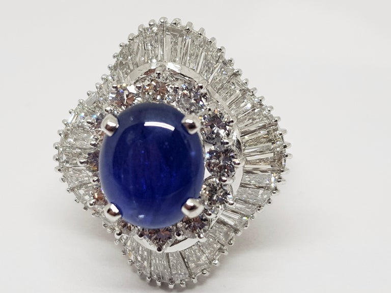 9.83 Carat White Gold Diamond Blue Sapphire Cocktail Ring For Sale 7