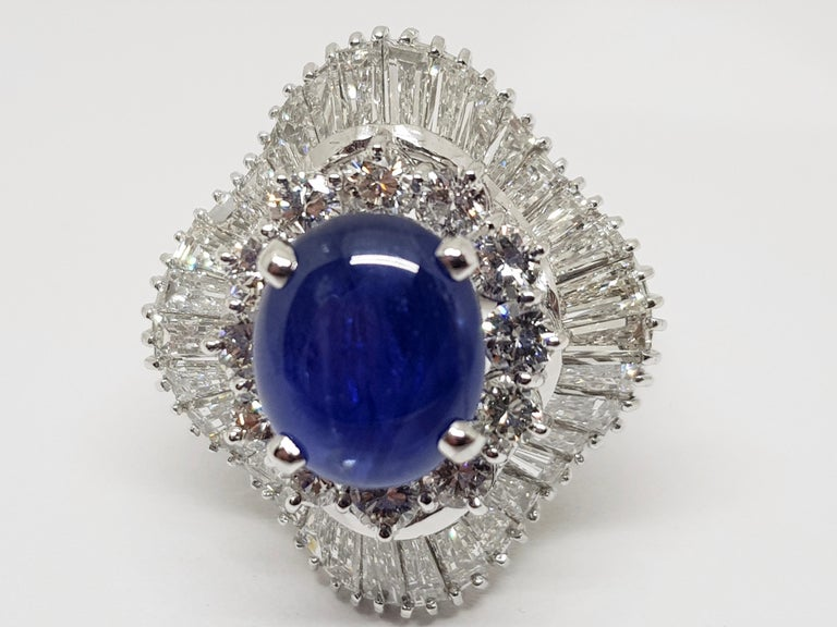 9.83 Carat White Gold Diamond Blue Sapphire Cocktail Ring For Sale 8