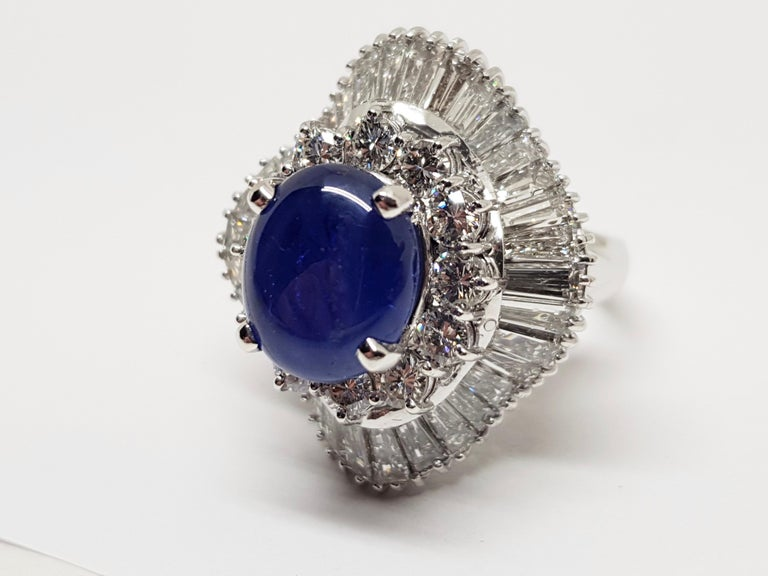 9.83 Carat White Gold Diamond Blue Sapphire Cocktail Ring For Sale 9
