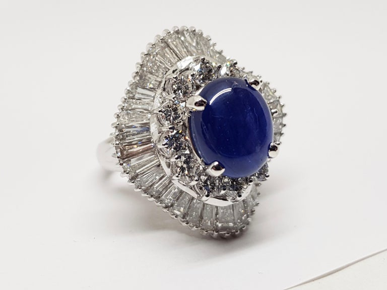 9.83 Carat White Gold Diamond Blue Sapphire Cocktail Ring For Sale 10