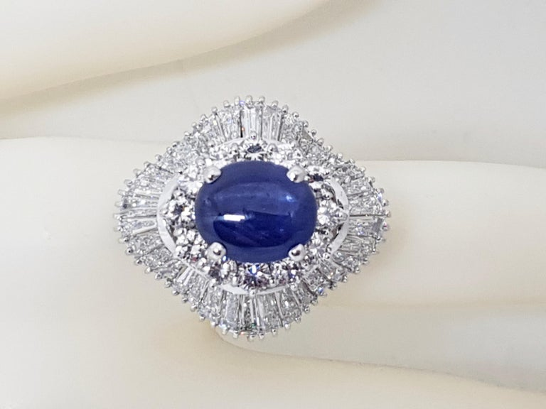 9.83 Carat White Gold Diamond Blue Sapphire Cocktail Ring For Sale 11