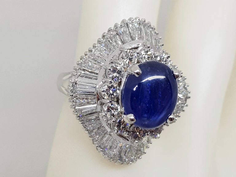 Contemporary 9.83 Carat White Gold Diamond Blue Sapphire Cocktail Ring For Sale