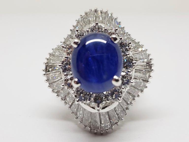 Baguette Cut 9.83 Carat White Gold Diamond Blue Sapphire Cocktail Ring For Sale