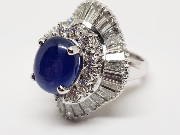 9.83 Carat White Gold Diamond Blue Sapphire Cocktail Ring In New Condition For Sale In Antwerp, BE