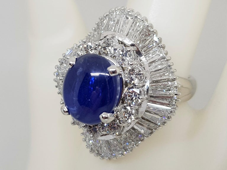 Women's 9.83 Carat White Gold Diamond Blue Sapphire Cocktail Ring For Sale