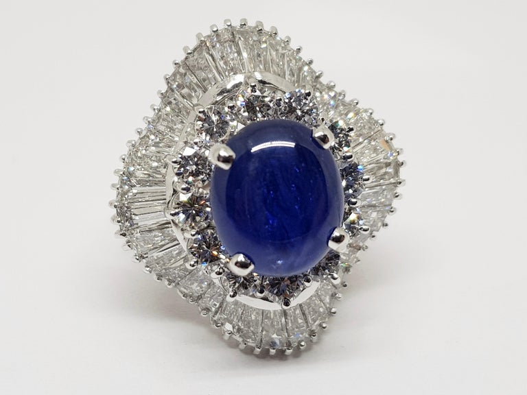 9.83 Carat White Gold Diamond Blue Sapphire Cocktail Ring For Sale 1