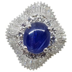 9.83 Carat White Gold Diamond Blue Sapphire Cocktail Ring