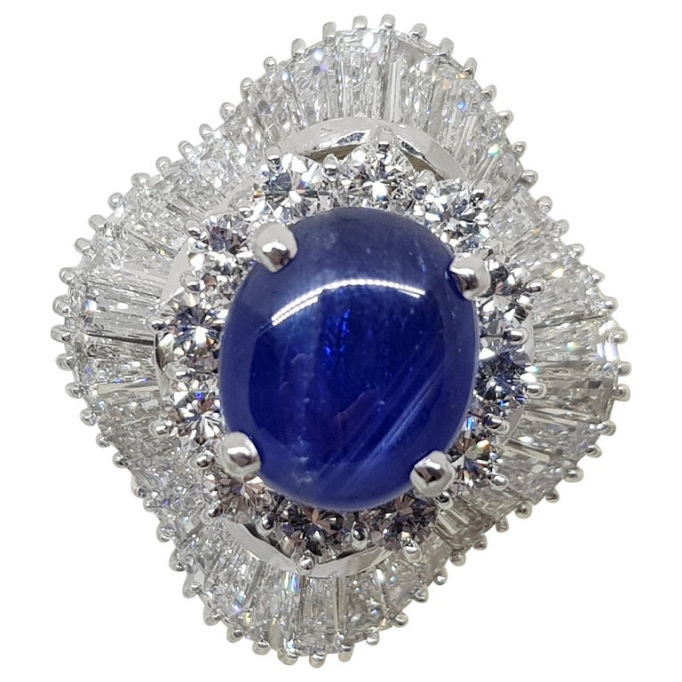 9.83 Carat White Gold Diamond Blue Sapphire Cocktail Ring For Sale