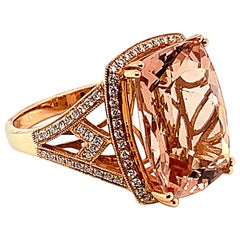 9.84 Carat Cushion Shaped Morganite Ring in 18 Karat Rose Gold with Diamonds