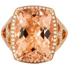9.84 Carat Morganite and Diamond Ring in 18 Karat Rose Gold