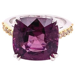 9.84 Carat Purple-Pink Burmese Spinel and Brown Diamond Gold Engagement Ring