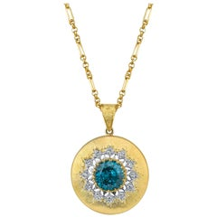 9.85 ct. Round Blue Zircon, Diamond 18k Gold Handmade Italian Florentine Pendant