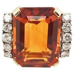 9.85 Carat Citrine and Diamond Ring