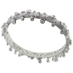 9.85 Carat Dangling White Diamonds Cuff Bracelets