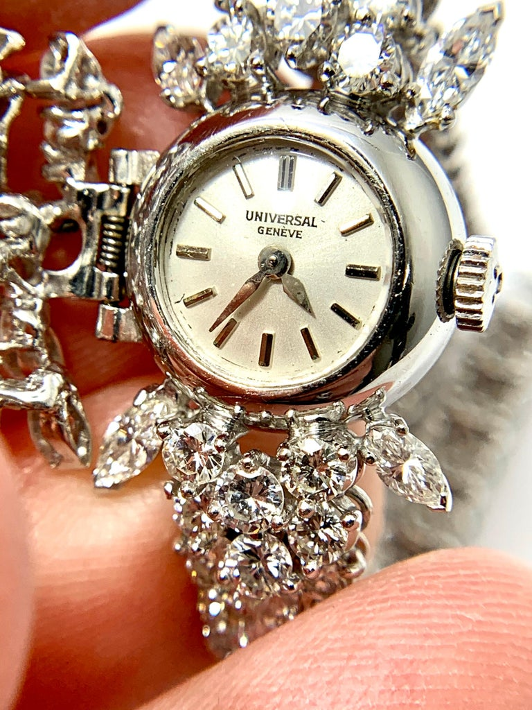 9.85 Carat Diamond Encrusted Universal Geneve Platinum Watch In Excellent Condition For Sale In Washington, DC