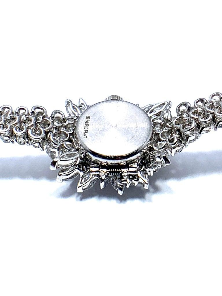 9.85 Carat Diamond Encrusted Universal Geneve Platinum Watch For Sale 1