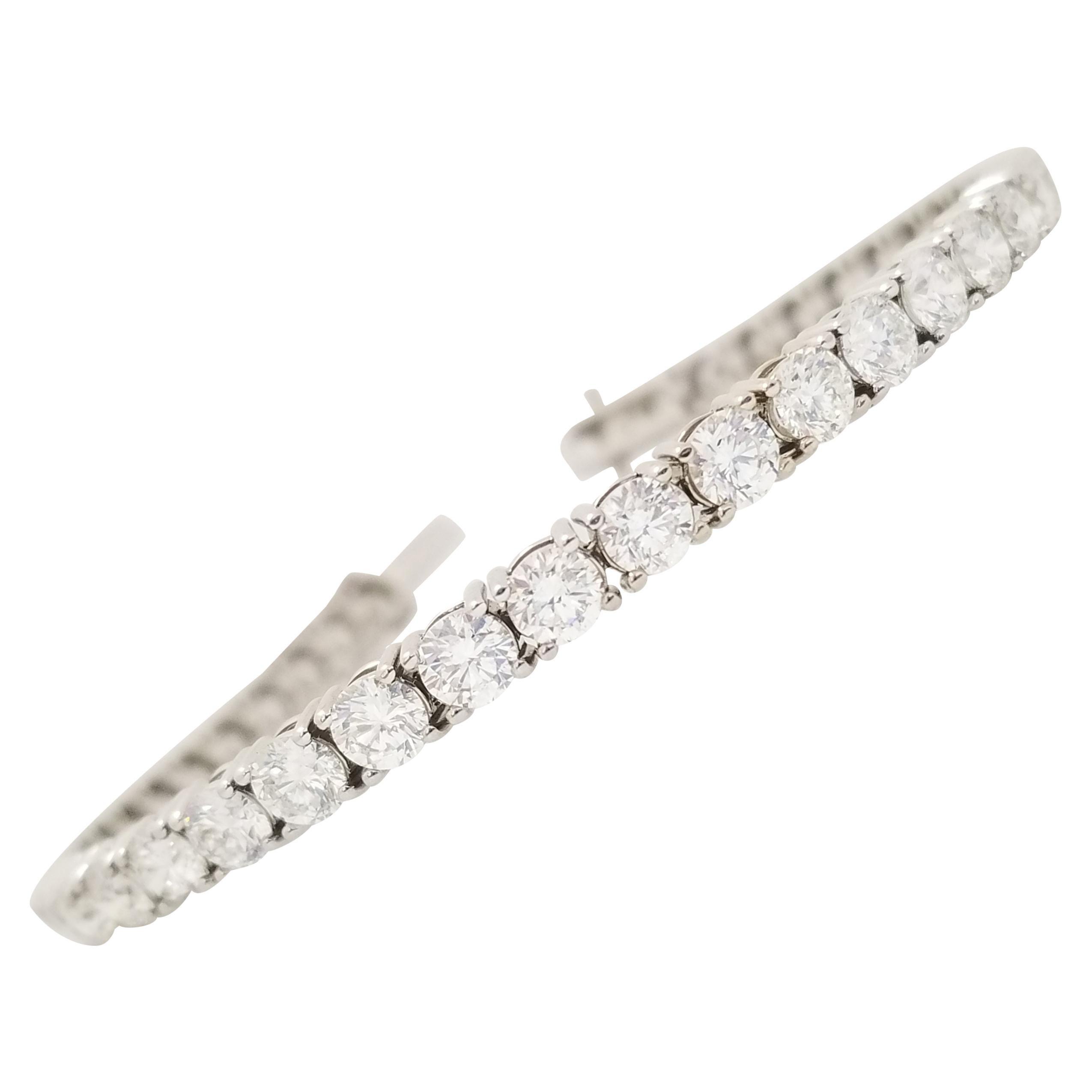 9.85 Carat Round Brilliant Cut Diamond Tennis Bracelet 14 Karat White Gold