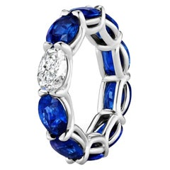 9.87 Carat Sapphire and Oval Diamond East West Eternity Band Ring