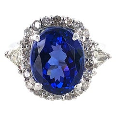 9.88 Carat Oval Tanzanite Diamond White Gold Cocktail Ring