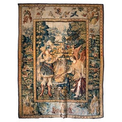 988 - Magnificent Tapestry in Wool and Silk, Brussels, 16th Century