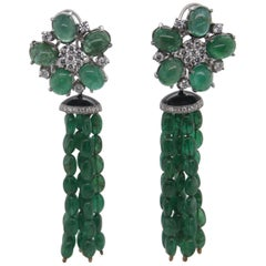 98.90 Carat Emerald and Diamond Earring in 18 Karat Gold
