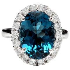9.90 Carat Natural Impressive London Blue Topaz and Diamond 14K White Gold Ring