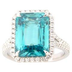 9.91 Carat Emerald Cut Blue Zircon and Diamond Ring