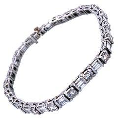 9.91 Carat Round/Baguette Diamond Platinum Tennis Bracelet