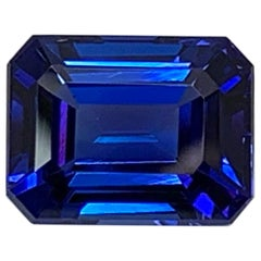 9.91 Carat Tanzanite Emerald Cut, Unset 3-Stone Ring Pendant Enhancer Gemstone