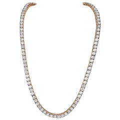 99.12 Carat 14 Karat Rose Gold and Diamond Tennis Necklace