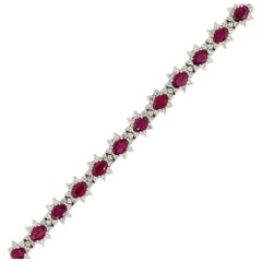 9.92 Carat Oval Ruby Flower Bracelet with Diamonds 18 Karat in Stock