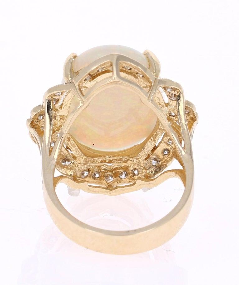 Victorian 9.93 Carat Opal Diamond 14 Karat Yellow Gold Ring For Sale