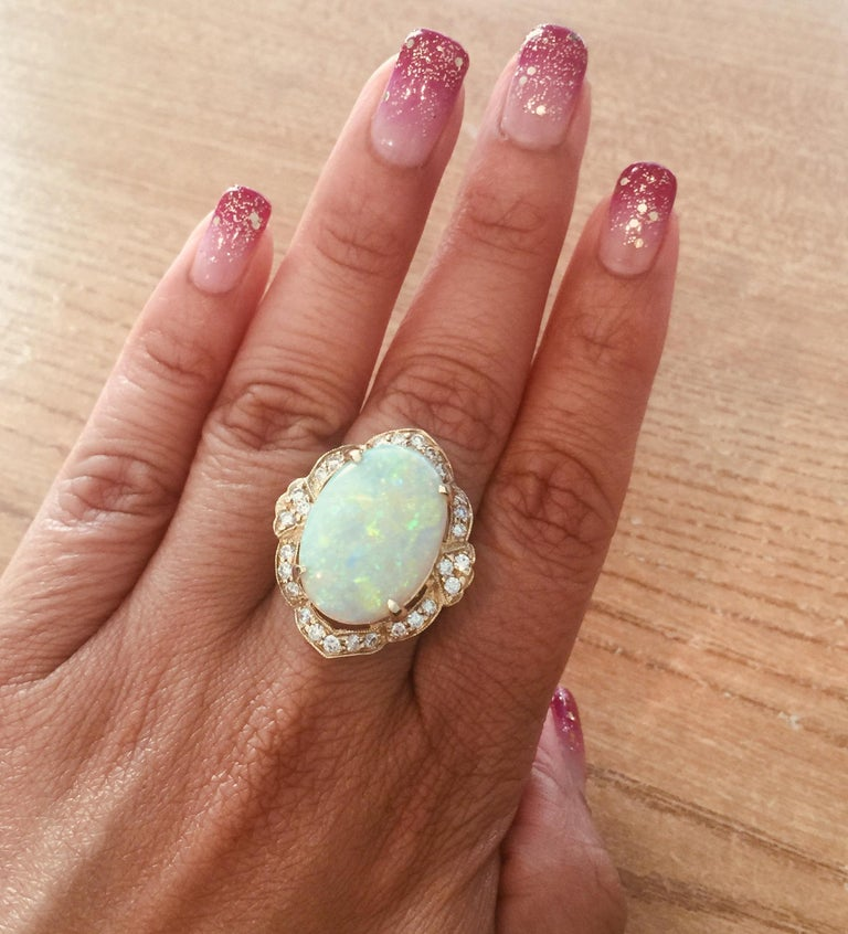 9.93 Carat Opal Diamond 14 Karat Yellow Gold Ring In New Condition For Sale In Los Angeles, CA